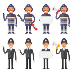 Set characters policeman and firefighter