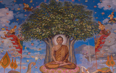 Traditional Thai mural painting the Life of Buddha and Thai life