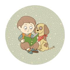 Vector illustration: little boy and dog