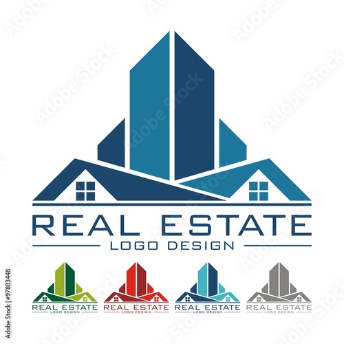 rooftop real estate logo sample vector illustration stock image