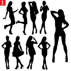 Woman vector black and white isolated simple silhouettes