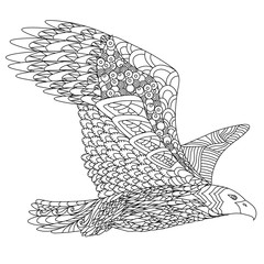 Zentangle stylized flying eagle. Hand Drawn doodle vector illustration isolated on white background. Sketch for tattoo or indian  design