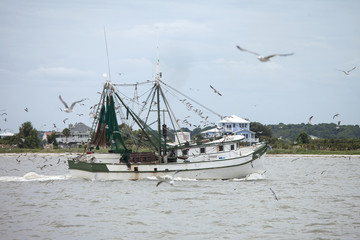 Commercial fishing vessel at work