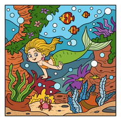 Vector color illustration(little mermaid and sea world)