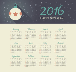 Calendar 2016 year with christmas ball
