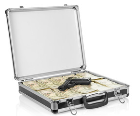 Open suitcase with dollars and gun on white background