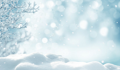 Photo sur Aluminium Bleu clair winter christmas background