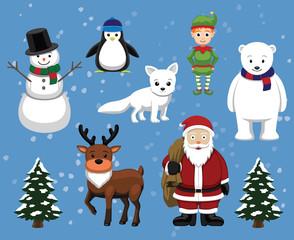 Christmas Characters Cartoon Vector Illustration