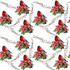 Christmas background, bullfinch