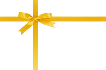 yellow ribbon cross with bow for packaging with tails isolated on white