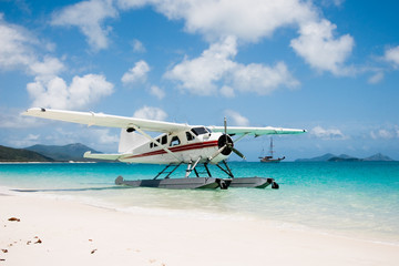 Seaplane on Whitehaven Beach in Queensland, Australia
