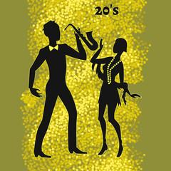 two jazz dancers, illustration of twenties