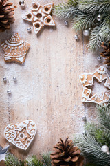 art Christmas cookies with festive decoration