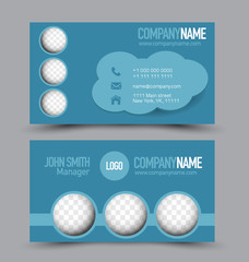 Business card design set template for company corporate style. Blue color. Vector illustration.