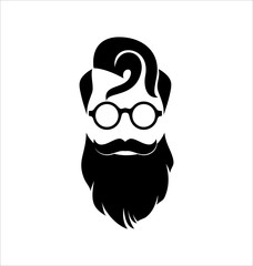 Hipster Black on White Background, Curl Hairstyle and Beard