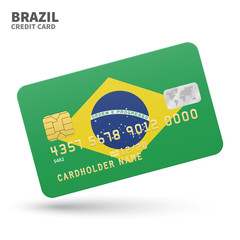 Credit card with Brazil flag background for bank, presentations and business. Isolated on white