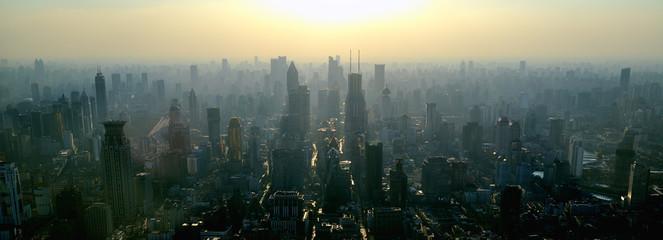 Shanghai skyscrapers at sunset