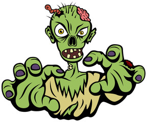Vector illustration of an angry cartoon zombie.
