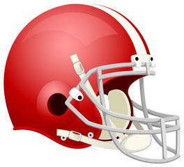 Vector illustration of a red American football helmet.