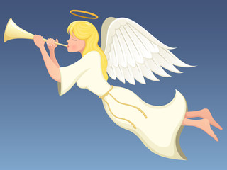 Vector illustration of a winged angel flying and playing a brass horn.
