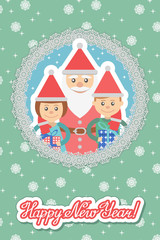 Image of  children and Santa in round frame on snowflakes background .