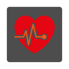 Heart Graph Rounded Square Button