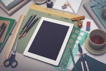 Creative artist desk tablet pc mock up