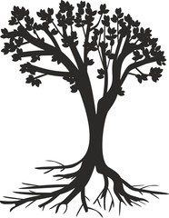 silhouette of tree with roots