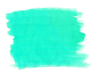 A fragment of the turquoise background painted with gouache