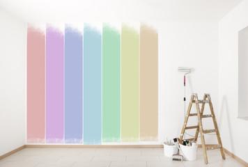 bunte Wand streichen