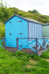 Beautiful Summer houses on Scottish beach, Scotland, Uk