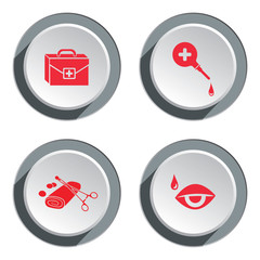 Medical tool icon set. Tweezers tampons bandage enema clyster vision, instrument bag buttons. Health symbol. Round three-dimensional button with shadow. Vector