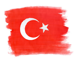 Turkish flag painted with gouache