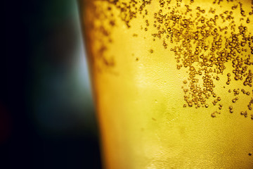Golden beer closeup