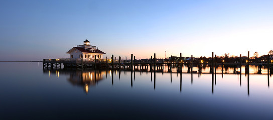 Roanoke Marshes Lighthouse Manteo NC Outer Banks North Carolina dock in Albemarle Sound