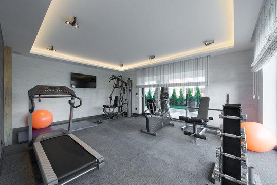 Home gym in luxury villa house