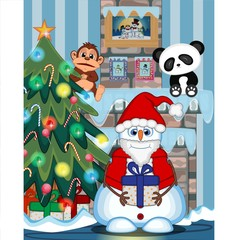 Snowman Carrying A Gift And Wearing A Santa Claus Costume with christmas tree and fire place Illustration