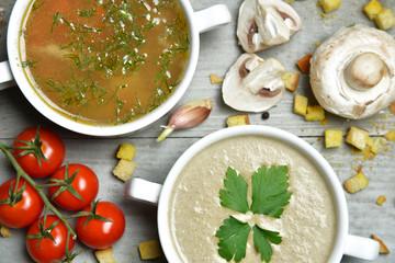 Soup bowls composition with text copy space mushroom cream soup