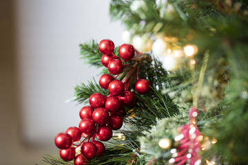 Christmas Tree Decorations in Red, Gold, and Green