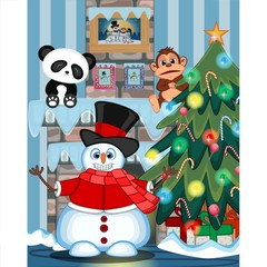 Snowman Wearing A Hat, Red Sweater And Red Scarf Waving His Hand with christmas tree and fire place Illustration