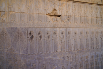 Detail of a relief of the eastern stairs in Persepolis in Iran.
