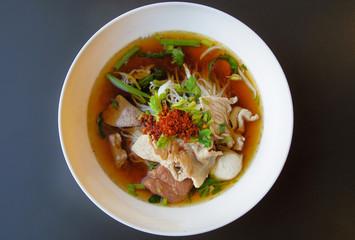 bowl of pork noodle soup
