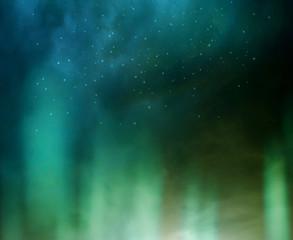Aurora borealis in night sky.