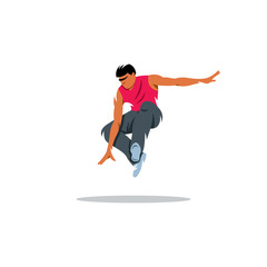 Parkour athlete jumping. Vector Illustration.