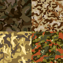 Set of 4 seamless camouflage pattern vector, EPS 10.