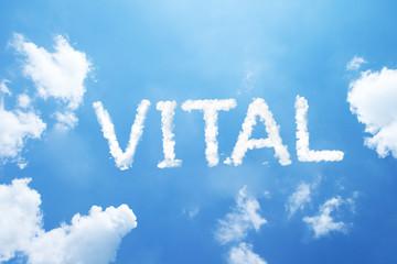 """""""Vital"""" cloud word on sky."""