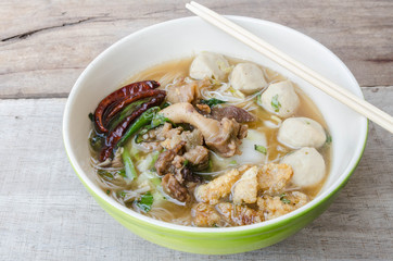 bowl of thai style beef noodle soup,Boat Noodle