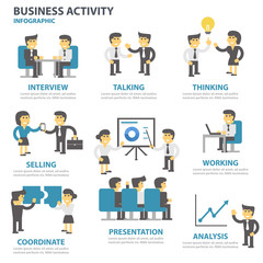 Buness activity Infographic elements flat design set for brochure flyer leaflet marketing advertising