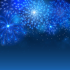 Festive firework bursting in various shapes and blue colors sparkling against night sky background. Abstract vector illustration.