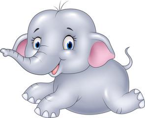 Happy baby elephant sitting isolated on white background